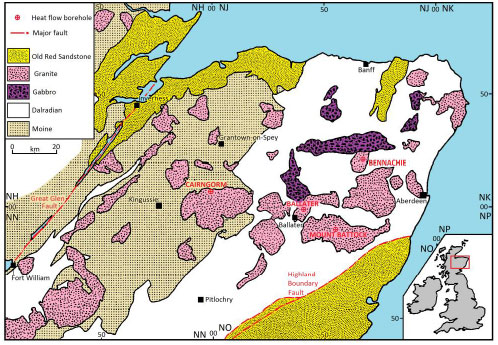 Figure 1: Location of granite bodies in north east Scotland and the heat flow boreholes used to estimate geothermal potential (modified by Rob Westaway from Fig. 2.1 of Wheildon et al. (1984), and used with his permission).