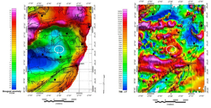 Figure 16: (a) Regional Gravity [left-side image], (b) Magnetic Anomalies [right-side image] for a part of north-eastern Scotland (BGS Data (2002))