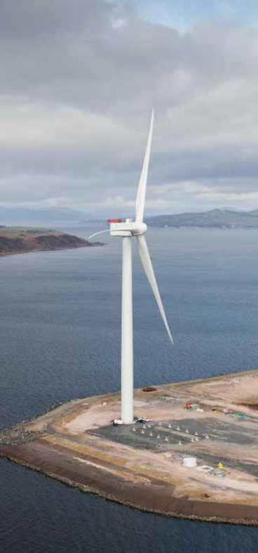 Aerial view of Hunterston offshore wind turbine test facility, North Ayrshire.