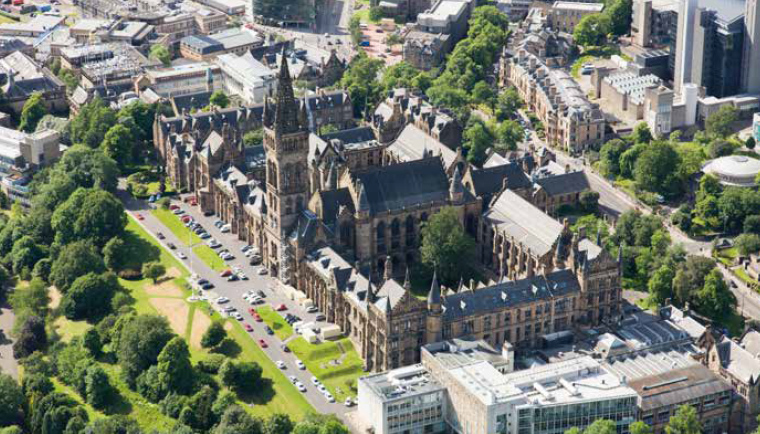 Aerial view of Glasgow University, West End