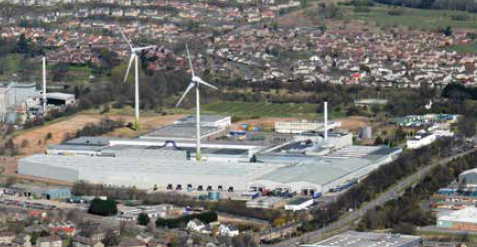 Two wind turbines supplying electricity to the Michelin tyre factory in Dundee.