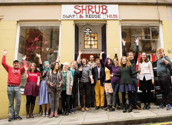 Team of volunteers at the Swap and Reuse Hub – SHRUB in Edinburgh.