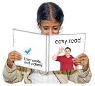 person reading an easy read document