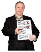 person holding document with boxes checked with red crosses