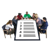 people sitting around a meeting table with checklist numbered one to five