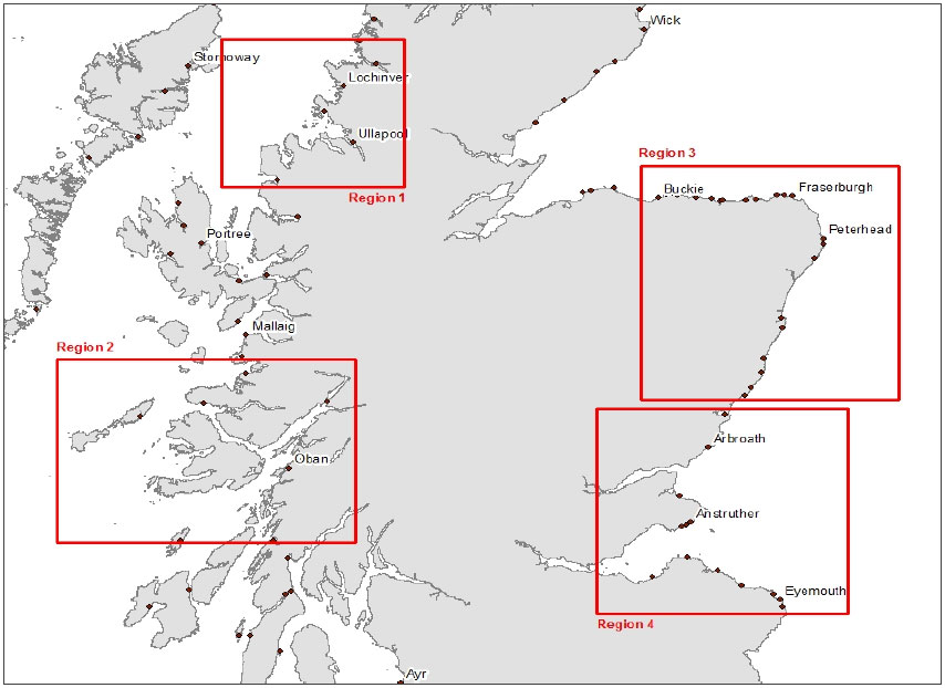 Figure 1: Map of survey regions. Region 1 – Achilitibuie to Gairloch (North West); region 2 – Oban to Isle of Mull (South West); region 3 – Buckie to Gourdon (North East); and region 4 – Arbroath to Eyemouth (South East)