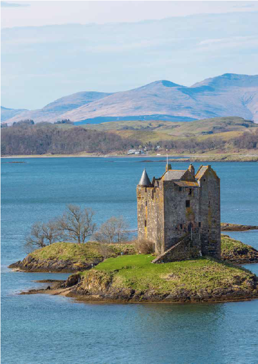Castle Stalker, situated on an islet on Loch Laich (part of Loch Linnhe), Appin, Argyll
