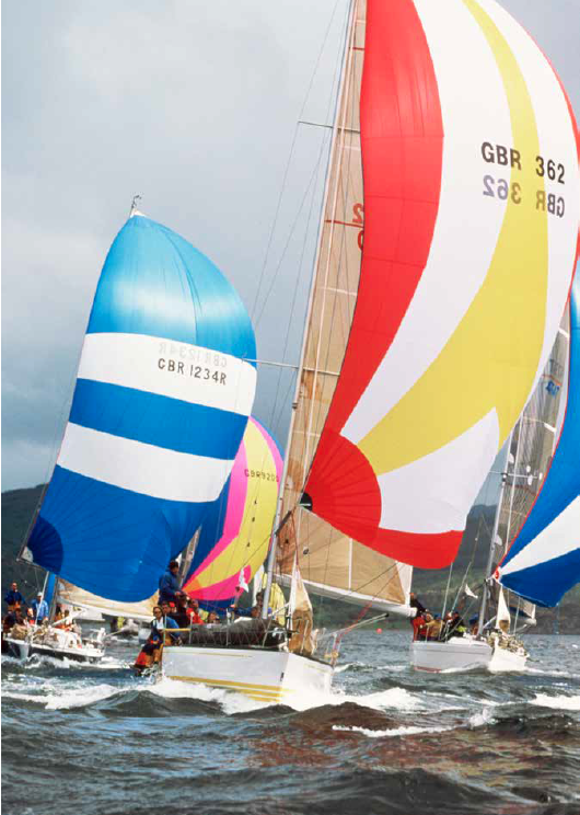 Competitors race in the Bell Lawrie Scottish Series in 2000, Loch Fyne, Argyll
