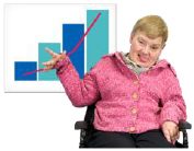 Person sitting in front of a graph
