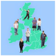 People standing on a map of the UK