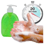 A person washing their hands for 20 seconds
